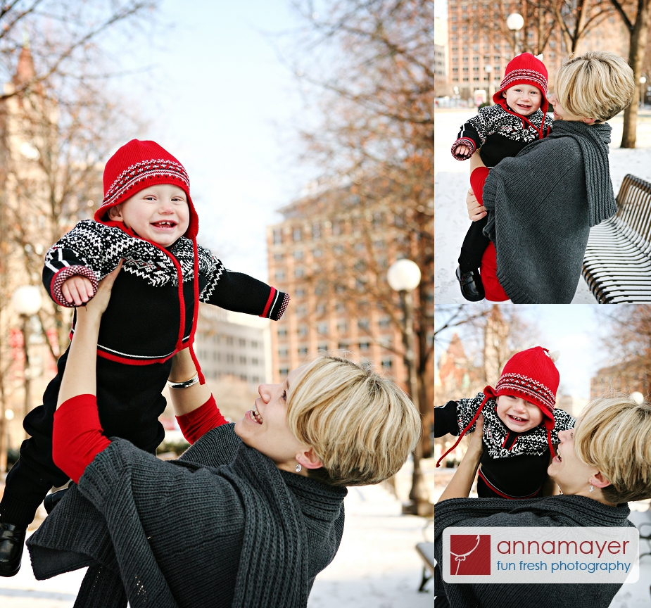 Family photos in Rice Park, downtown Saint Paul, Minnesota