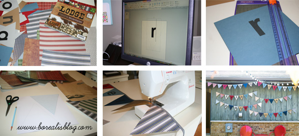 Collage of photos showing how to make a paper pennant banner