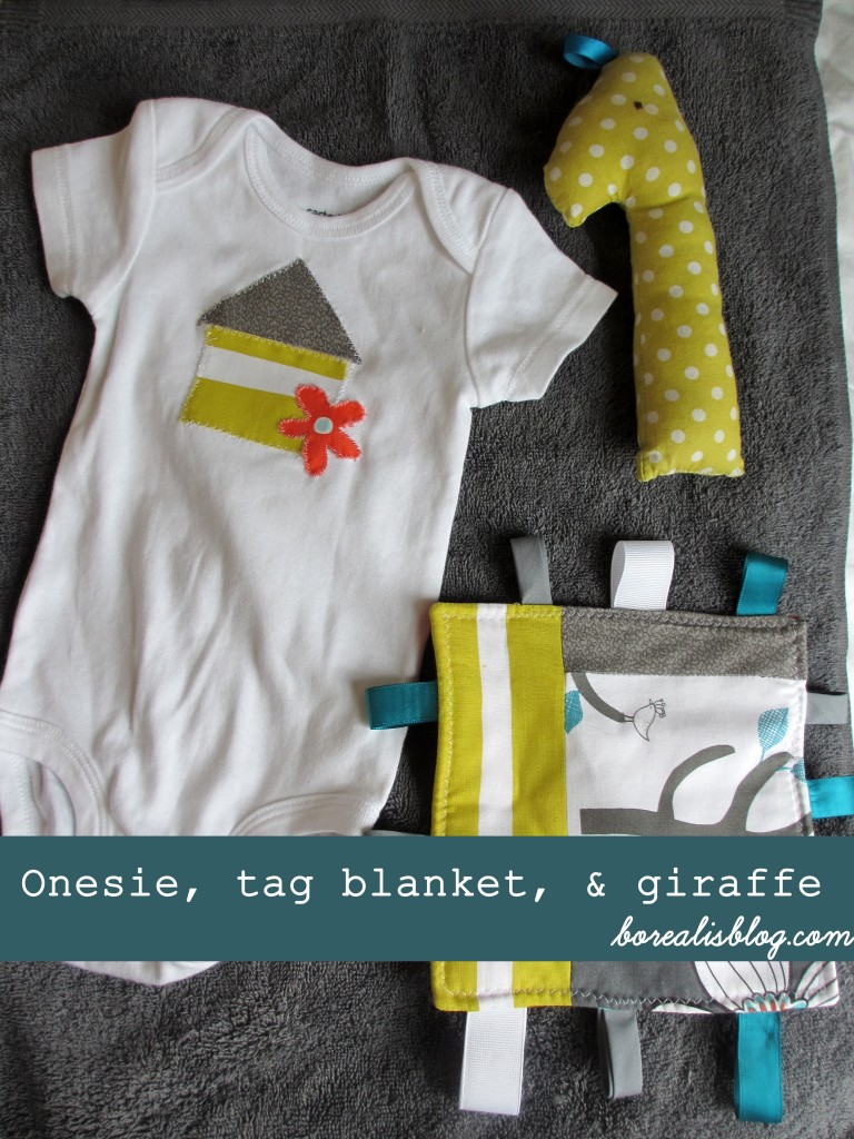 how to sew a giraffe tag blanket onesie