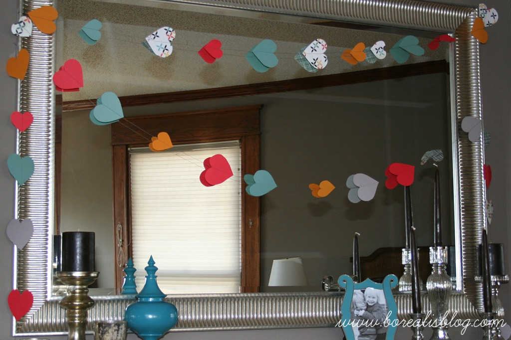 paper heart garland how to make