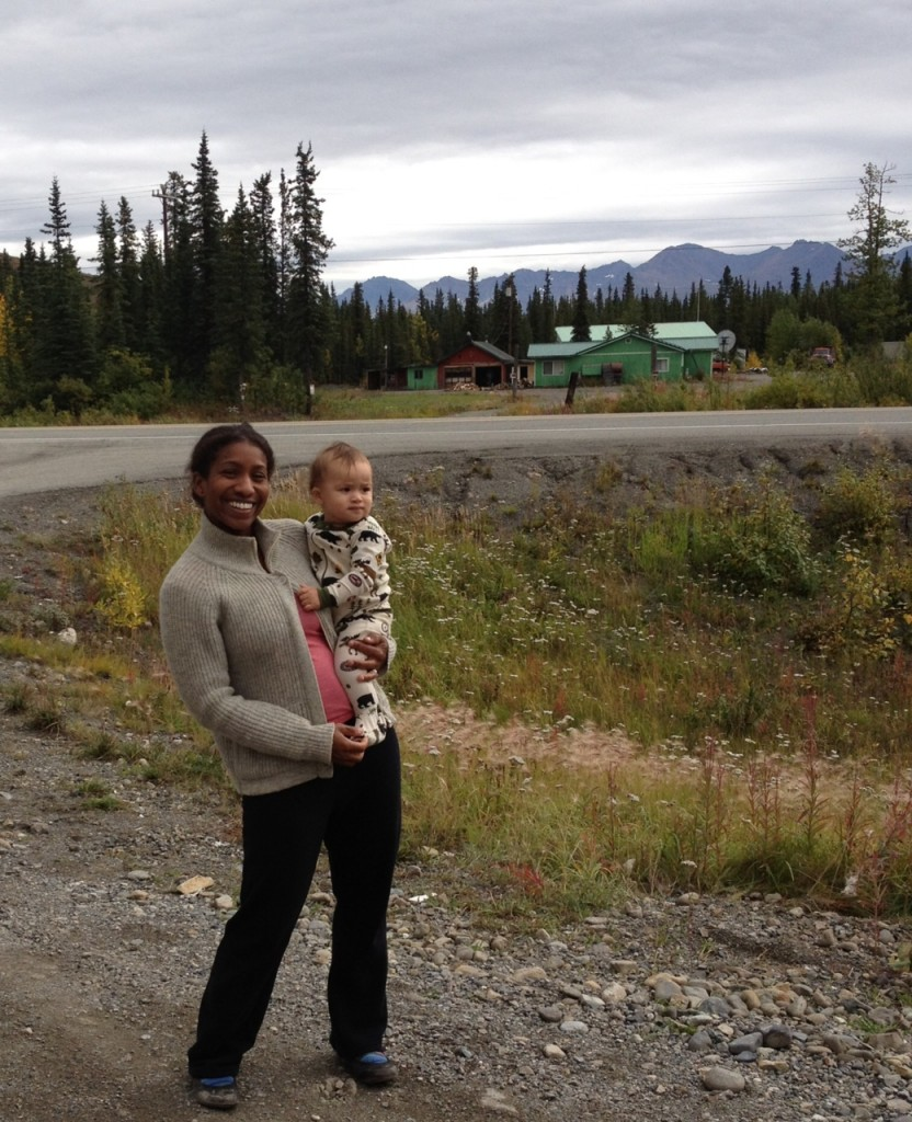 Amanda and her son in Alaska