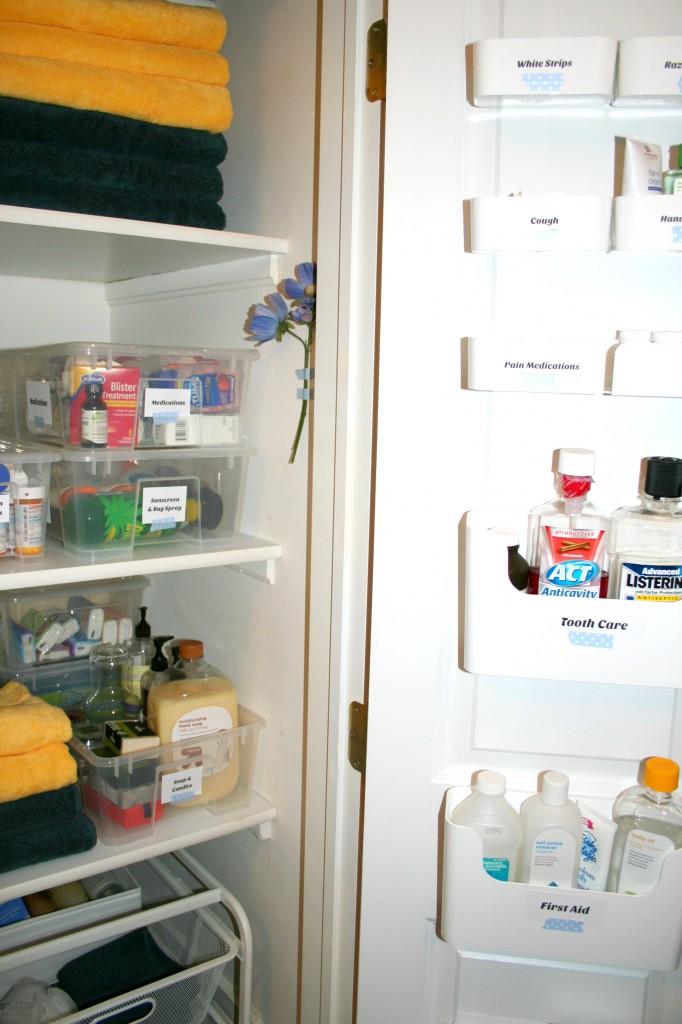 Linen closet organizing with ikea borealis for Linen closet ikea