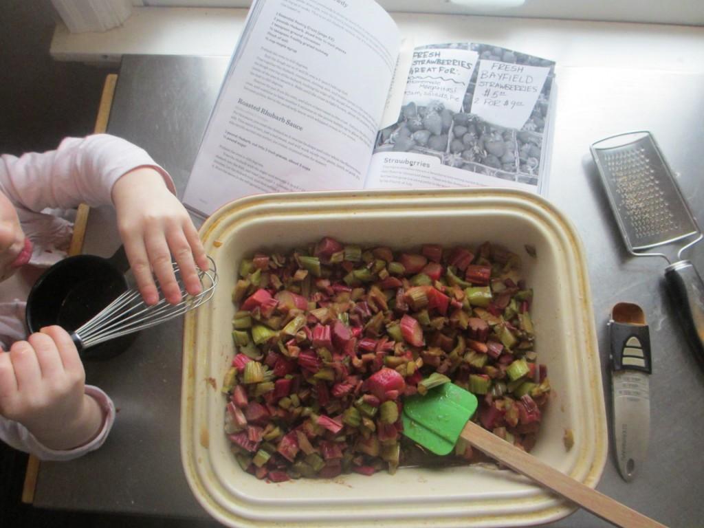 mixing rhubarb