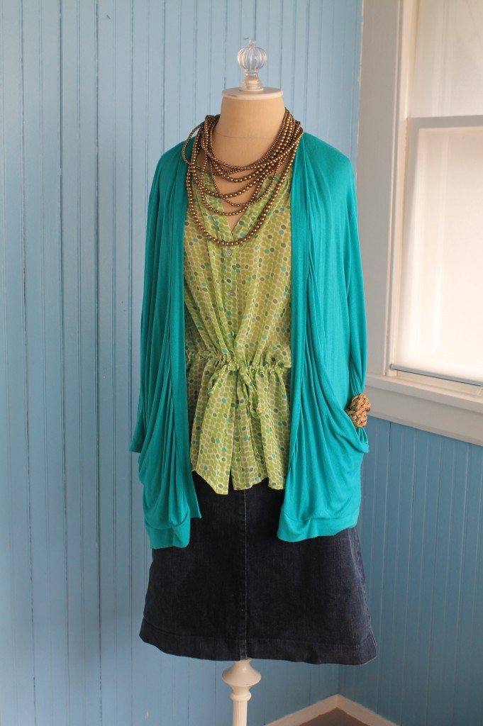 green blouse turquoise cardi