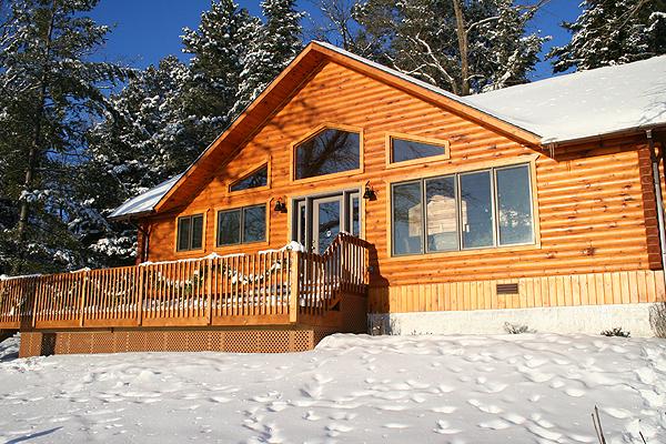 snowy lodge