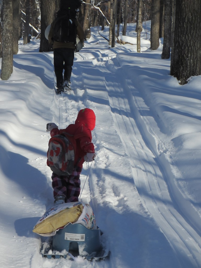 Lake Maria hike in toddler pulling sled