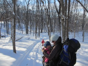 Winter backpacking and cabin camping with a baby and toddler