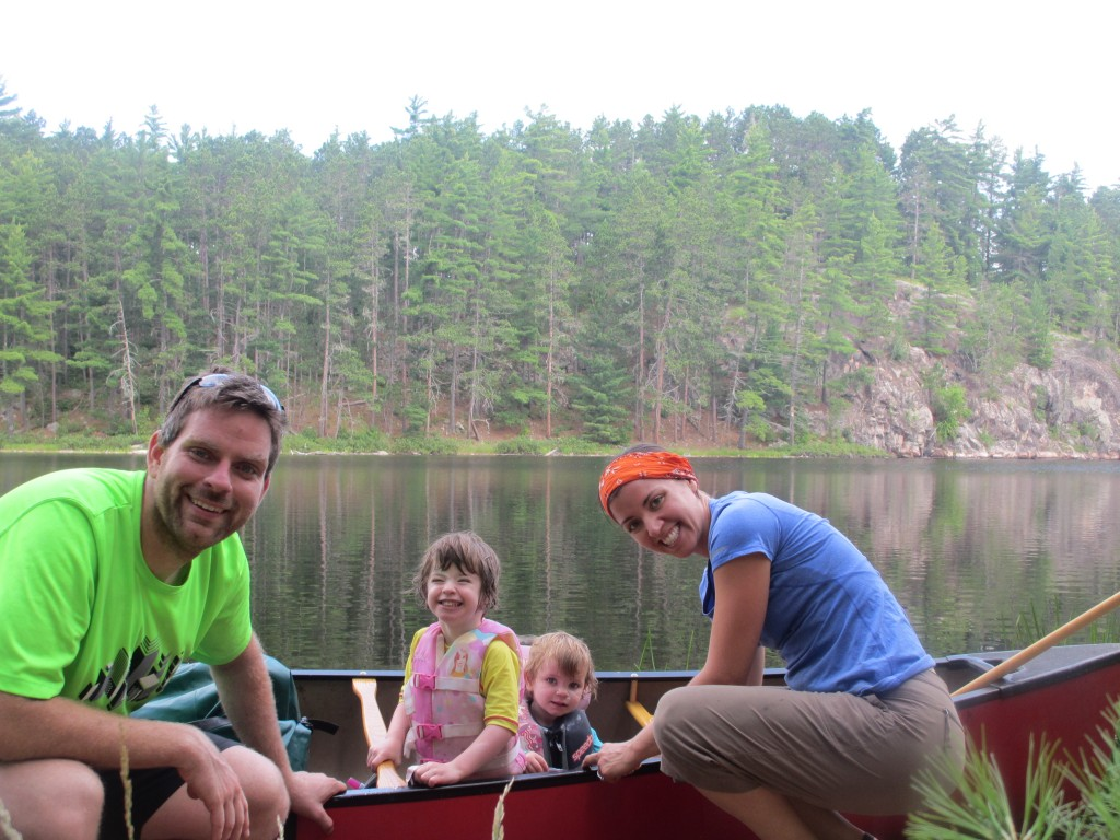 Family at Slim Lake campsite