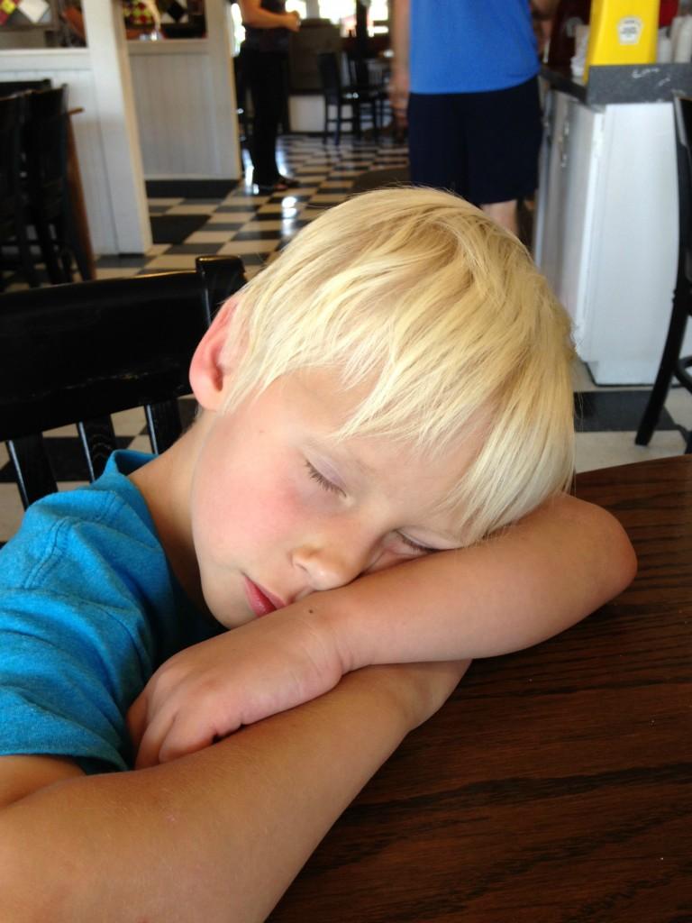 asleep in restaurant