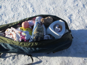 Winter hike-in cabin camping with children at Tettegouche State Park