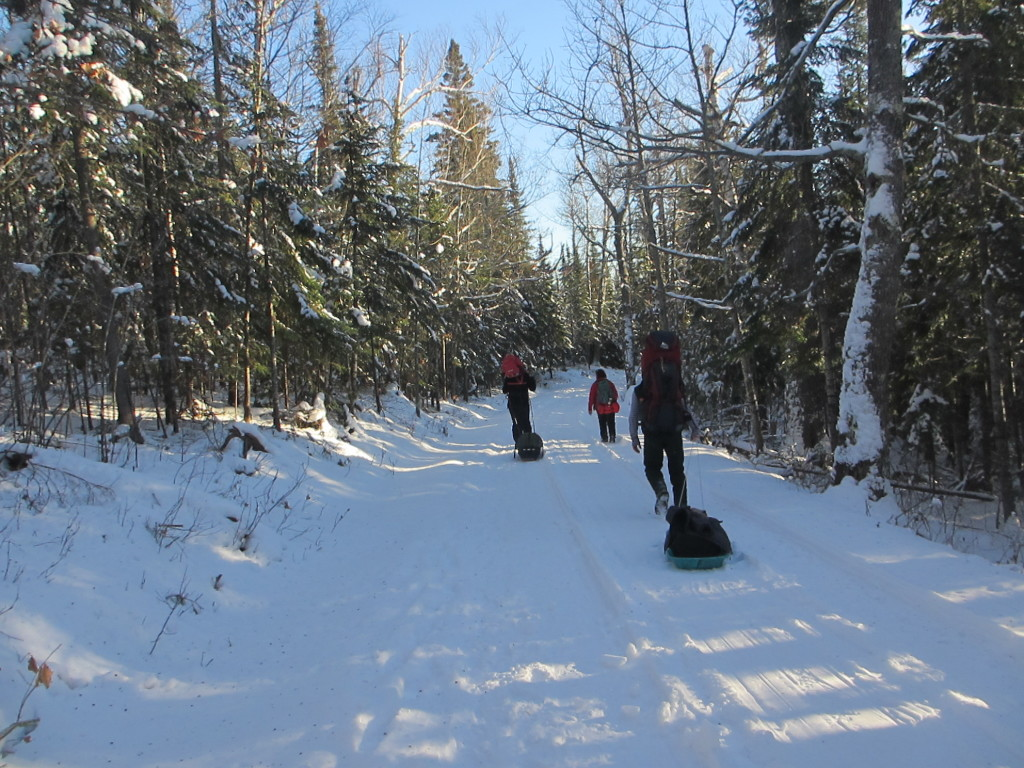 Walking in to Tettegouche Camp Cabins