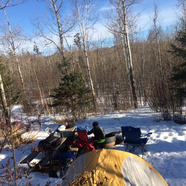 winter tent camping at Tettegouche